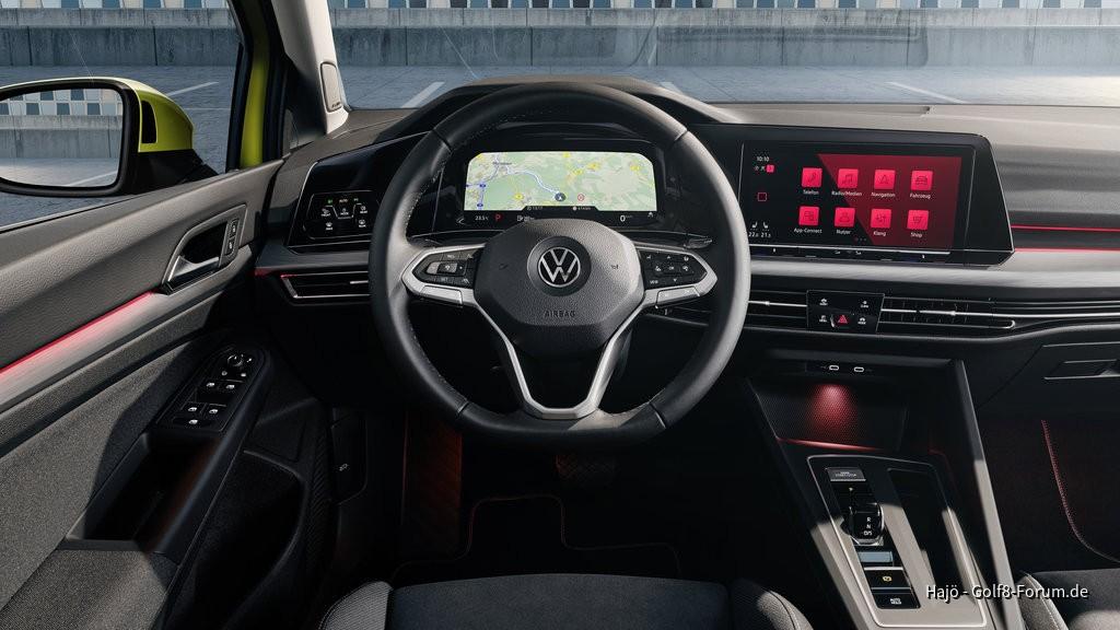 Voll digitalisiertes Cockpit des Golf 8